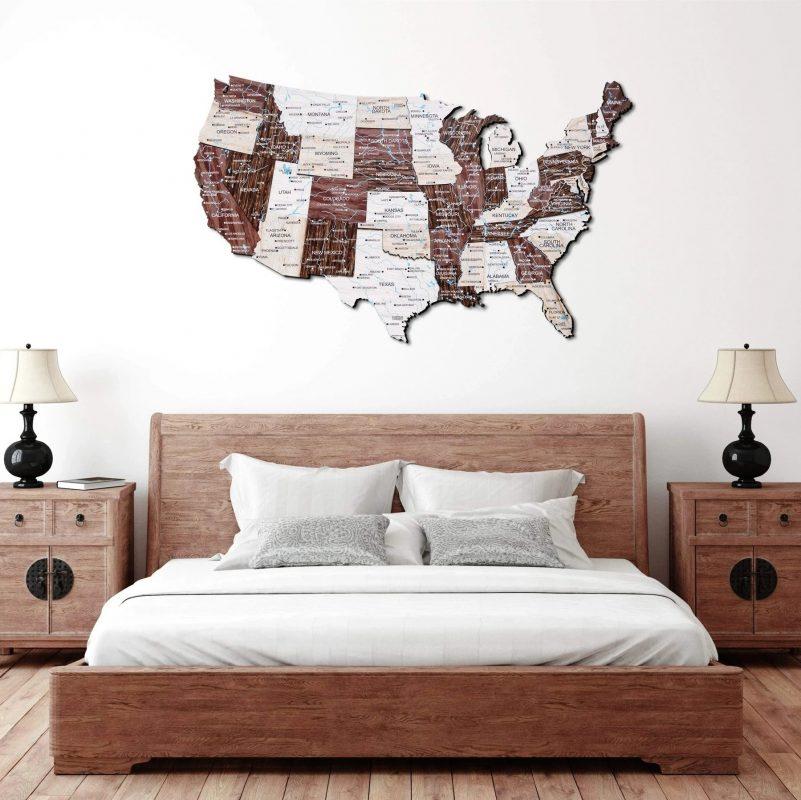 Dřevěné 3D a 2D mapy USA