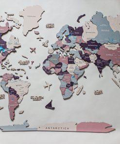 Nástěnná 3D mapa světa ze dřeva - barva Berry