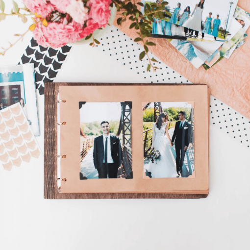 Svatební deník a fotoalbum ze dřeva - motiv just married