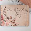 Svatební deník a fotoalbum ze dřeva - s motivem barevné květiny
