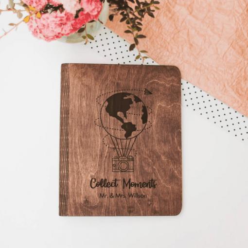 Svatební deník a fotoalbum ze dřeva s motivem balónu