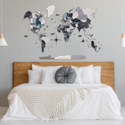 mapa světa na zeď ze dřeva - nordik