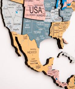 3D Mapa světa na zeď ze dřeva - barva festival