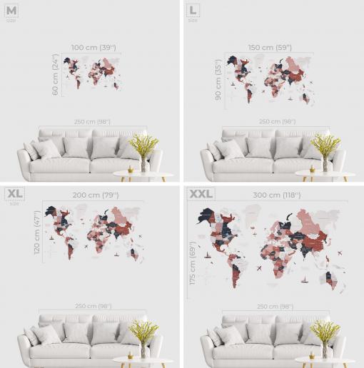 3D Mapa světa na zeď ze dřeva - barva Rustic
