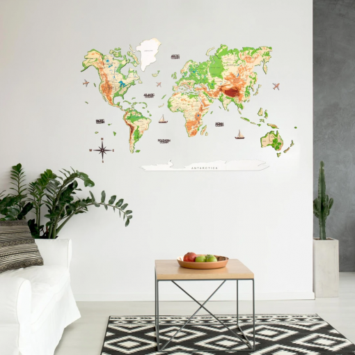 3D Mapa světa na zeď ze dřeva - barva fyzická
