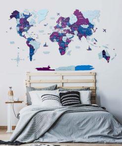 3D Mapa světa na zeď ze dřeva - barva Seaside