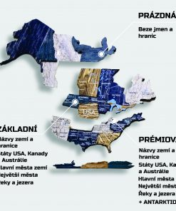 3d mapa světa ze dřeva na zeď - barva mystery