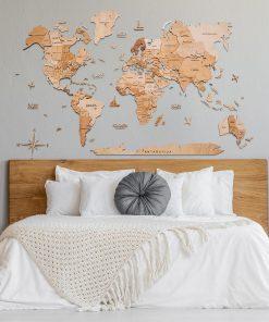 3D Mapa světa na zeď ze dřeva - svíticí a magnetická, světlá