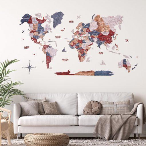 3D Mapa světa na zeď ze dřeva - barva boho
