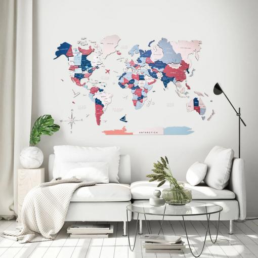 3D Mapa světa na zeď ze dřeva - barva bubblegum