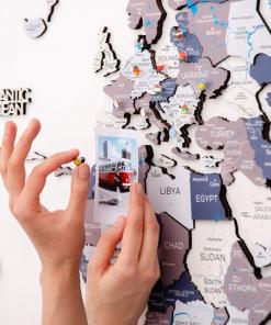 3D Mapa světa na zeď ze dřeva - barva cruise