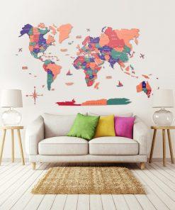 3D Mapa světa na zeď ze dřeva - barva jungle