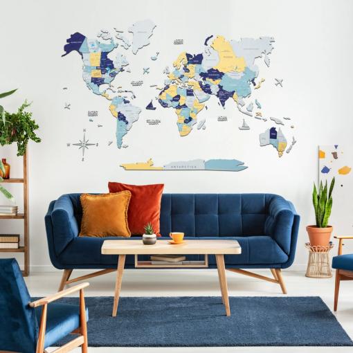3D Mapa světa na zeď ze dřeva - barva Norway