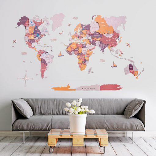 3D Mapa světa na zeď ze dřeva - barva rodeo