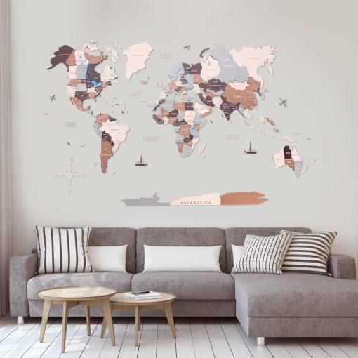 3D Mapa světa na zeď ze dřeva - barva Suburbs