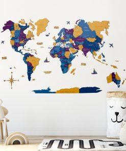 3D Mapa světa na zeď ze dřeva - barva waterpark